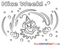 Clown Nice Week Coloring Pages free