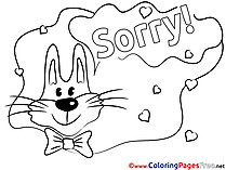 Rabbit Sorry Coloring Pages free