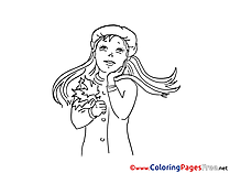 Autumn for Kids printable Colouring Page Girl