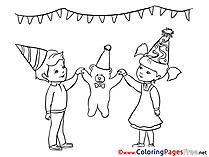 Bear Coloring Pages for free Holiday Girl
