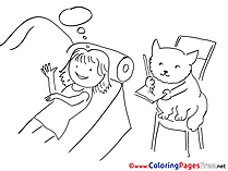 Cat writes printable Coloring Sheets download Woman