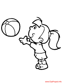 Coloring page girl playing ball