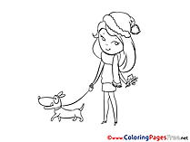 Dog Girl Coloring Sheets download free