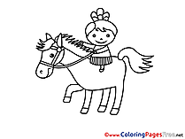 Girl on Horse Kids free Coloring Page
