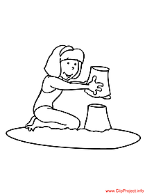 Girl on the beach coloring page