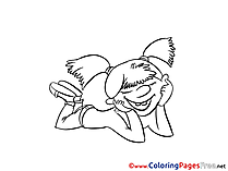 Happy Girl for free Coloring Pages download