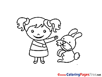 Hare Girl for Children free Coloring Pages