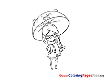 Hat with Cat for Children free Coloring Pages Girl