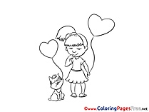 Hearts download printable Girl Coloring Pages