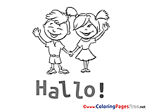 Hello Kids free Coloring Page Friends