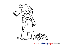 Leaves Girl Coloring Sheets download free