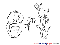Love Girl Children download Man gives Flower Colouring Page