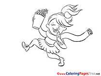 Popcorn free printable Girl Coloring Sheets