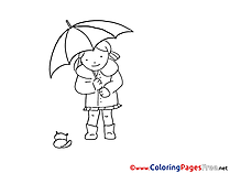 Umbrella Kids download Coloring Pages