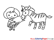 Zebra Kids free Coloring Page Girl