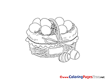 Basket with Eggs for Children free Coloring Pages