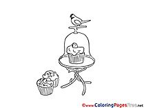 Bird Cakes Children download Colouring Page