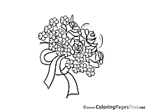 Bouquet Flowers Colouring Sheet download free