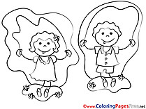 Children hopping printable Coloring Pages for free