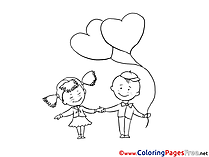 Children with Hearts Coloring Pages free