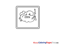 Cloud angry Children Coloring Pages free