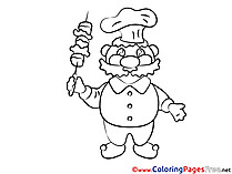 Cook with Kebab Colouring Sheet download free