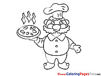 Cook with Pizza download printable Coloring Pages