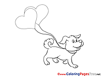 Dog with Hearts for Kids printable Colouring Page