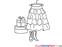 Dress and Shoes printable Coloring Sheets download