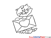 Envelope Cat Coloring Sheets download free