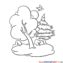 Forest for Kids printable Colouring Page