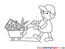 Gardener with a Cart Coloring Pages for free