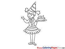 Girl celebrates her Birthday Kids free Coloring Page