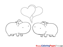 Hippos in Love free Colouring Page download