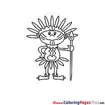 Indian for free Coloring Pages download