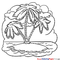 Island Palm Tree Colouring Page printable free