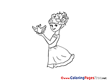 Jolly Girl with Pigeon for free Coloring Pages download