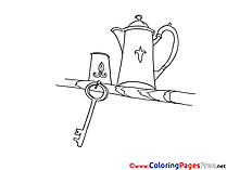 Key and Kettles printable Coloring Pages for free