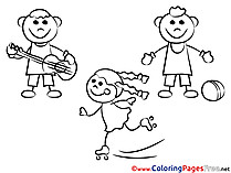 Kids do Sport free printable Coloring Sheets
