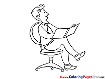 Man with a Book Children Coloring Pages free
