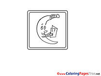 Moon reads printable Coloring Sheets download