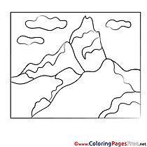 Mountains Colouring Sheet download free
