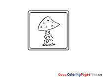 Mushroom for Kids printable Colouring Page