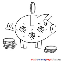 Piggy Bank download Colouring Sheet free