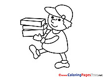 Postman with Boxes  printable Coloring Sheets download