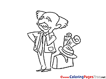 Professor thinks download printable Coloring Pages