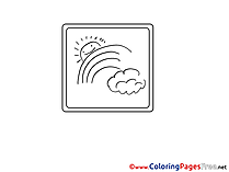 Rainbow Sun for free Coloring Pages download