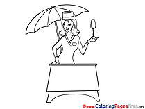 Saleswoman Ice Cream Kids download Coloring Pages