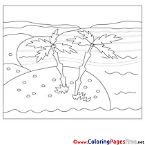 Sea Island for Kids printable Colouring Page