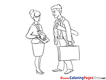 Secretary and Engineer Colouring Page printable free